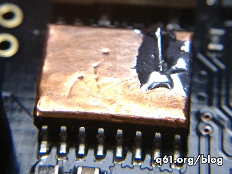 銅箔テープを貼ったDS3231の写真